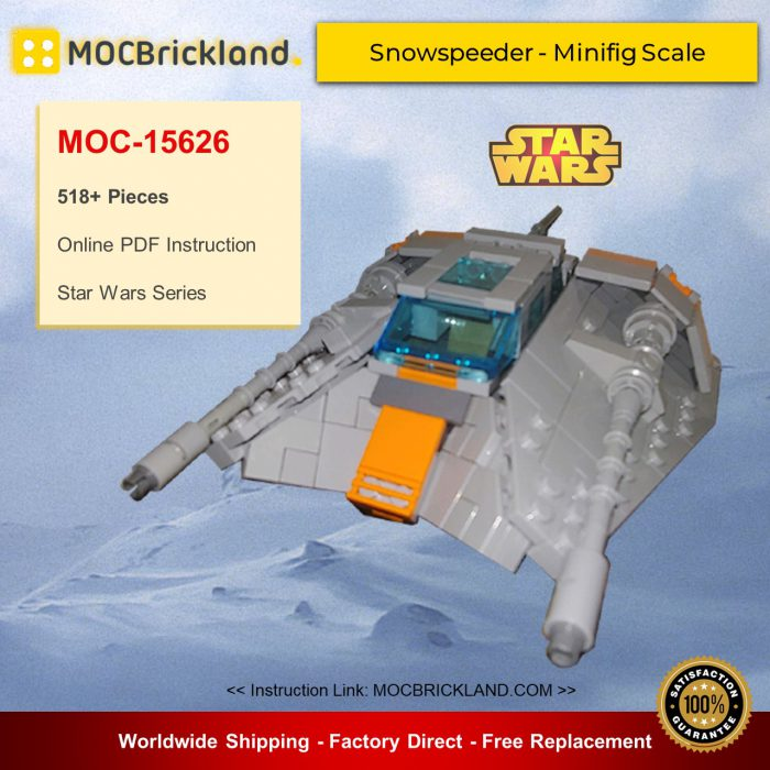 Star wars moc-15626 snowspeeder - minifig scale by brickvault mocbrickland