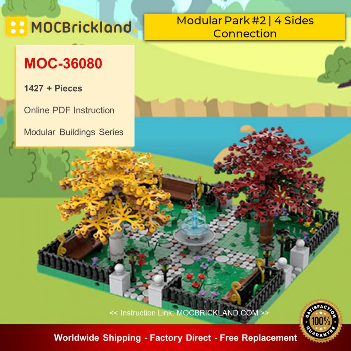 Modular Buildings MOC-36080 Modular Park #2 | 4 Sides Connection By gabizon MOCBRICKLAND
