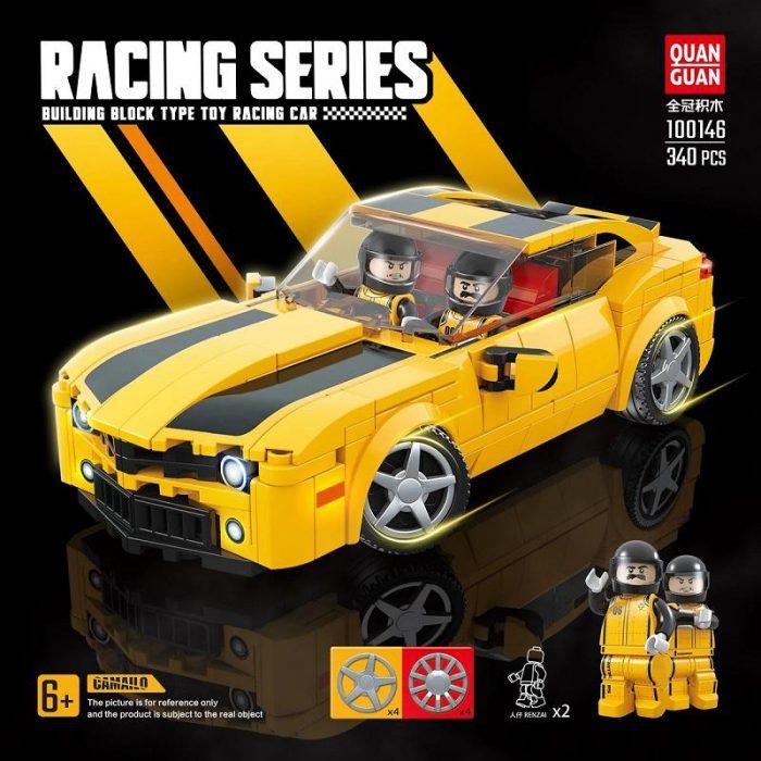 Technic quanguan 100146 yellow camaro sports car