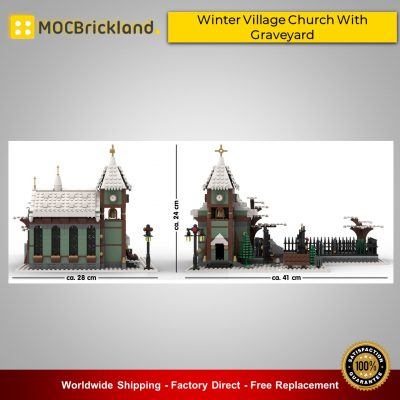 MOC31149 Winter Village Church with Graveyard Building Blocks Good Quality Brick