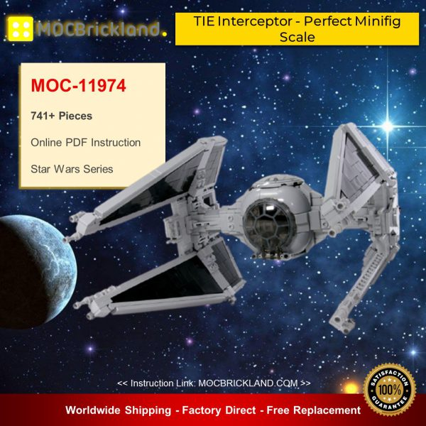 Star Wars MOC-11974 TIE Interceptor - Perfect Minifig Scale By brickvault MOCBRICKLAND