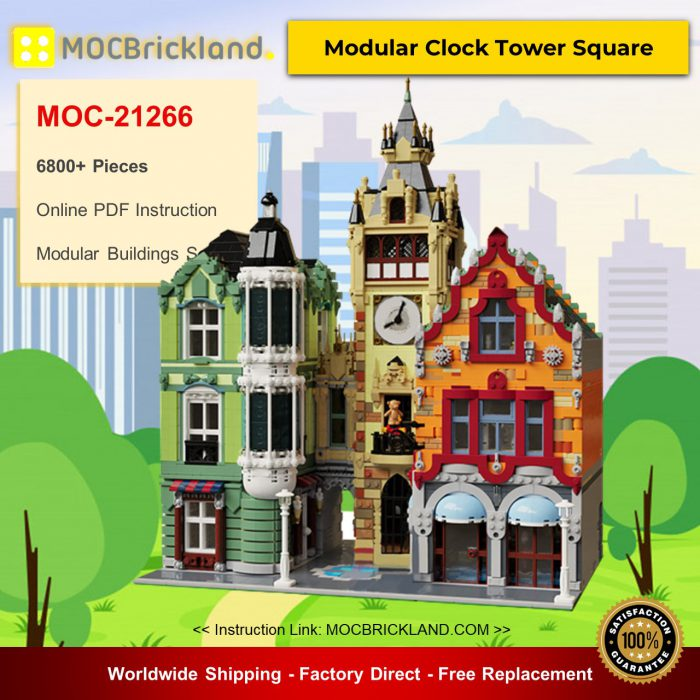 Modular Buildings MOC-21266 Modular Clock Tower Square By bricksandtiles MOCBRICKLAND